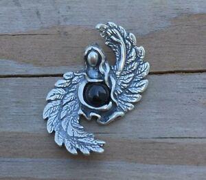 Angel of Abundance Pendant .925 Sterling Silver w/ Genuine Black Star Diopside