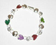 Silver Tone Costume Jewellery Hearts Diamonte Charms Bracelet