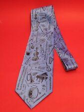 Orchestral Instruments Music Symbols Men's Silk Tie Blue Music Teacher Xmas Gift
