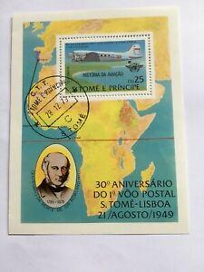 Sao Tomé und Príncipe 1979 - 1. Post Flug nach Lissabon  mit DC 3 Dakota Block