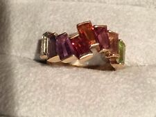 Designer 14k yellow gold multi gemstone ring Sz 7