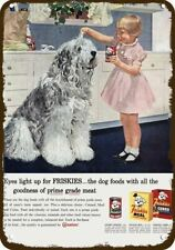 1958 Friskies Dog Food Vintage Look Replica Metal Sign Cute Old English Sheepdog