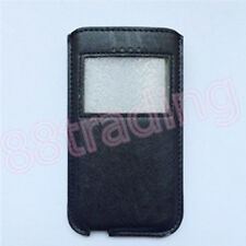 Pull Sleeve Leather Case with Mini Clear Front Window for Extra Large Phone