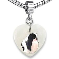 Japanese Chin Heart Dangle Mother Of Pearl European Bracelet Charm Bead EBS286