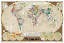 World Map Triple View Educational Office Print, 24x36