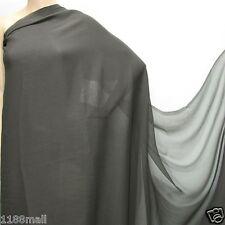 4 YdCharcoal Grey Pure Silk Georgette Chiffon Fabric 140cm#220 for Summer Dress