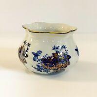 Ceramic Blue w Gold Thread Feature Fish Bowl  Bamboo Planter Pot in Peony Design