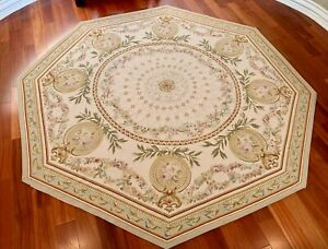 """9' 3"""" Octagon Aubusson Flat Weave French/Victorian Hand Knotted wool area rug"""