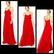 MNG by Mango Red Crochet Raw Edge Detail Peasant Ruffle Maxi Dress ~ 4, 4 M3020