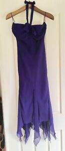 STUDIBAKER Purple Cocktail Dress Sz 8 Halterneck Midi Length