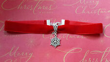 Red velvet choker necklace with snowflake pendant gothic goth