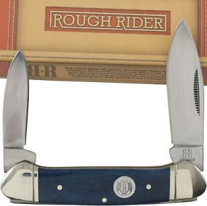Rough Rider Blue Smooth Bone Canoe Pocket Knife RR1949