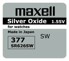 5 BRAND NEW SR626SW 377 Silver Oxide Watch Battery Made in Japan 12-2019