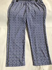 NWT Talbots's Sz 1X Women Royal Blue & White Geometric Print Casual Pants!!