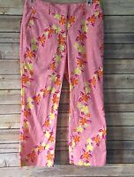 LILLY PULITZER Capri Cropped Pants Women's Size 2 Floral Pink Yellow Orange