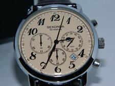 Sekonda Men's Bronze Dial Chronograph Black strap watch,24 hour dial ,50m