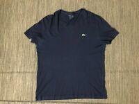 Lacoste Adult Mens 5 (Large) V Neck Tee T Shirt Short Sleeve Blue Cotton