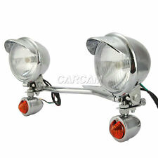 Driving Passing Bullet Turn Signals Chrome Spot Light Bar Fit For Yamaha Cruiser