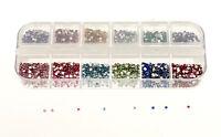 3000 x 2mm Round Nail Art Rhinestones Decoration Glitters Case DIY Nail Tips XJ
