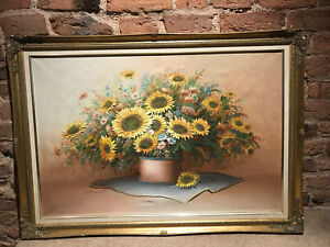 XL Original Vintage Oil Painting by Charles Benolt Sunflowers Ornate Gold Frame