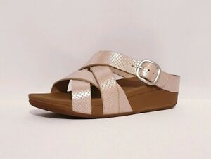 FITFLOP CRISS CROSS RRP £70 ADJUSTABLE SANDALS SILVER GENUINE LEATHER WOMENS