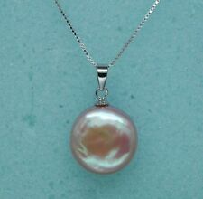 Fine 12-13mm AAA+ Purple Coin Pearl Pendant 925S 18""