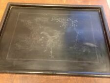 rare 1800s Chinese art sterling silver antique wood tray 17.75x12.75bird flowers