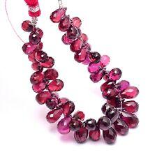 """Rhodolite Garnet Gemstone 5x7mm-6x8mm Faceted Teardrop Briolette Beads 5"""" Strand"""