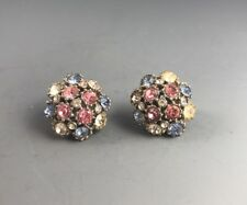 Delicate Round Rhinestone Clip On Earrings Silver Tone Blues Pinks Clear Vintage