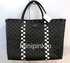 Kate Spade Woven Vinyl Black White Large Tote Ping Beach Bag