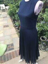 Lovely Navy Blue Fit/ Flare Dress By Spotlight Warehouse Lace Double Layer