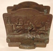 """Merchant Scene Solid Bronze Bookends 4.25"""" Tall 1920s book ends"""