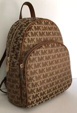 New Michael Kors Abbey MK Signature Jacquard MD Backpack Beige / Luggage