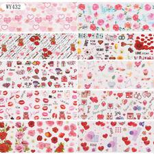 10 Pcs 20X4 cm Rose Flower Hearts Nail Art Foil Sticker Transfer Film Manicure