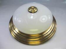Ø 24,5cm Vintage Deckenlampe Plafoniere Messingrand Flacher Opalglasschirm