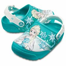 CROCS Disney Fun Lab Frozen Lights Elsa Clog Youth J2 Tropical Teal Light Up 2