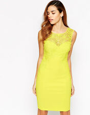 BNWT Lipsy Lace Applique Dress 10 Bodycon Bright Yellow Party Wedding Occasion