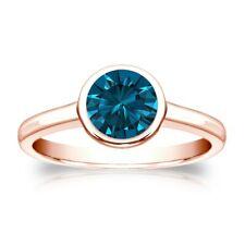 Diamant Brillant Ring 1,00 Ct. blauer Solitär 585 14K Roségold Brillant
