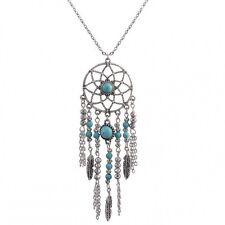 Retro Silver Feather Kallaite Dream Catcher Womens Long Chain Pendant Necklace
