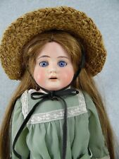 """18"""" antique bisque shoulder head & leather German Heubach Doll Nicely dressed"""