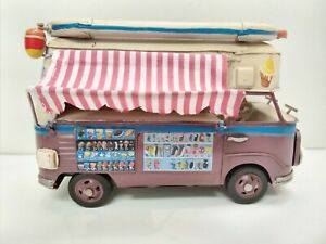 BOYLE Hand made Metal & Tin toy VOLKSWAGEN ice cream van for display 200mm long