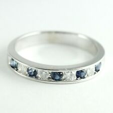 14k White Gold Sapphire Diamond Band (Estate Beautiful Ring) #00011280