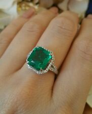 GIA 4.33 ct Colombian Emerald and Diamond Ring in Platinum Halo setting - HM1664