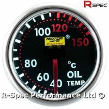 52mm Smoked Super White Oil Temperature Temp Gauge Kit - With 1/8 NPT Sensor