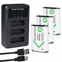 3 Battery +USB Triple Charger for Sony NP-BX1 Cyber-shot DSC-RX100M7 (RX100 VII)