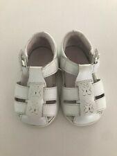 Stride Rite 3M Girl Shoe Sandal White Flower Butterfly Hook & Loop Straps Infant