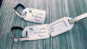 50 white,  Wedding favor leather, escort luggage tags,  $2.00 each