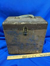 """Vintage Metal 78 Rpm Record 10"""" LP Carrying Case Box Storage Heavy Duty Rare"""
