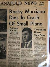 "1969, Rocky Marciano, ""DIES In Plane Crash"" Newspaper (Scarce / Vintage)"