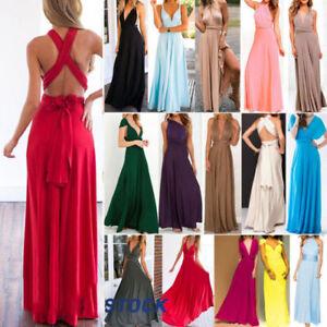 Women Evening Dress Convertible Multi Way Wrap Bridesmaid Formal Maxi Ball Gown~